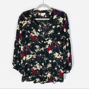 Parker Floral Print Silk Hi/Low Hem Blouse